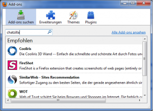 Add-on-Fenster --> Chatzilla suchen