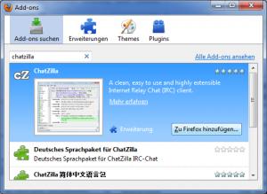 """Auswählen des Add-ons """"ChatZilla"""""""