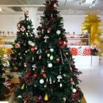 Mit Torten, Bonbons, Zuckerstangen, Beeren und Weihnachtssternen