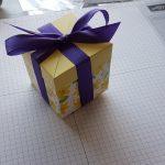 Die würfelförmige Schachtel mit einem darum geschlungenen Geschenkband, oben zur Schleife gebunden.